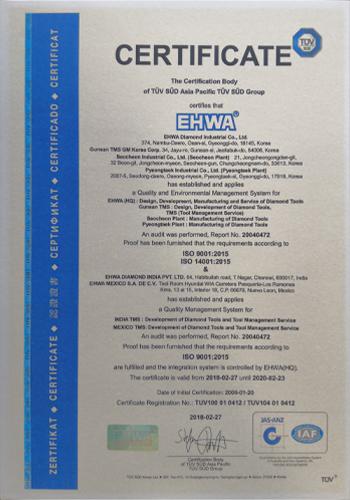 EHWA Diamond ISO 9001 - ISO 14001